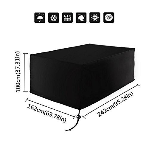 Xiliy Housse de protection imperméable en polyester pour meubles de jardin Noir 242×162×100cm/95.28×63.78×37.31inch Noir