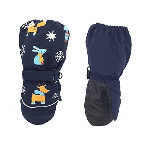 Guantes de invierno Invierno niños impresión de dibujos animados ciervo conejo engrosamiento guantes de esquí niños a prueba de viento impermeable antideslizante manga larga mitones guantes de moto mu