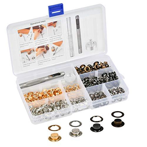 BUYGOO 200PCS Grommet Werkzeug Kit - 200Sets Grommet Ösen Scheiben 6mm Innen Durchmesser in 4 Farben mit Lochwerkzeug, Grommet Einstell Werkzeug und Aufbewahrungsbox