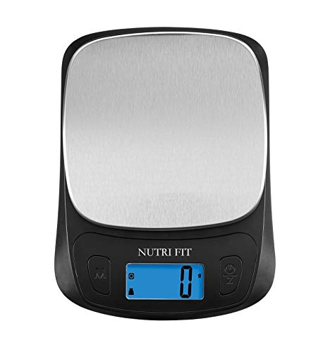 NUTRI FIT Ultra Slim Kitchen Scale Digital Food Weight Scale for Baking Cooking in Grams and Ounces Tare & Backlit LCD Display 11lb 5kg Capacity- Black Stainless Steel