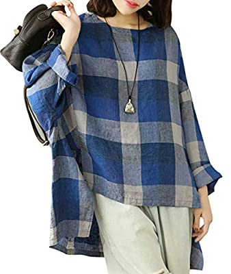YESNO Women Fashion Casual Loose Fit Blouse Shirts Long Sleeve Plaid Linen Tops Slit High-Low Hem YZC
