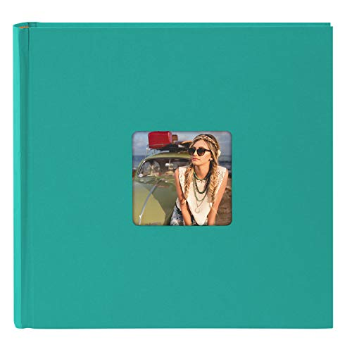 Goldbuch Fotoalbum mit Bildausschnitt, Living, 30x30 cm, 100 weiße Seiten mit Pergamin-Trennblättern, Hochwertiger Einband aus Strukturpapier in Leinenoptik, Türkis, 31 099