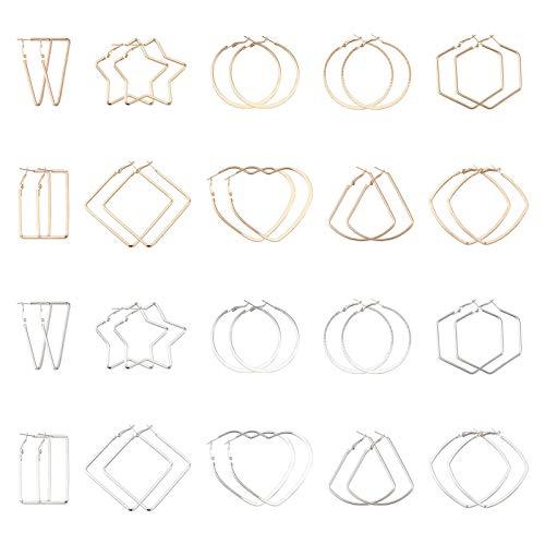Beadthoven, 40 orecchini a cerchio con perline e 10 stili, a forma di stella, quadrati, rettangolari, a forma di cerchio, per gioielli, artigianato, oro e argento