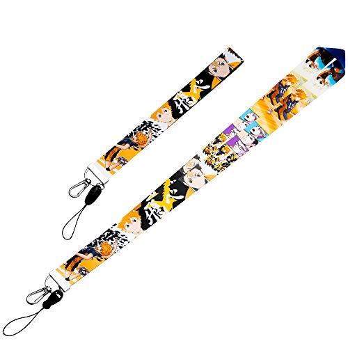 CY2SIDE 2PCS Haikyuu Badge Lanyard for Kids, Anime Phone String Holders for Teens, Haikyuu Keychain Badge Holder for Boy Girls, Lanyard Holders for Id Badge, Name Tag, Anime Cartoon Phone String Strap