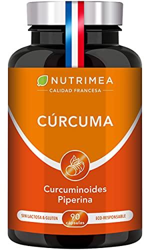 Cúrcuma Orgánica y Pimienta Negra Piperina | Extracto al 95% de Curcumina 90 Cápsulas Veganas Potente Antiinflamatorio Antioxidante | Natural Detox Huesos y Articulaciones | Turmeric Fabricado Francia