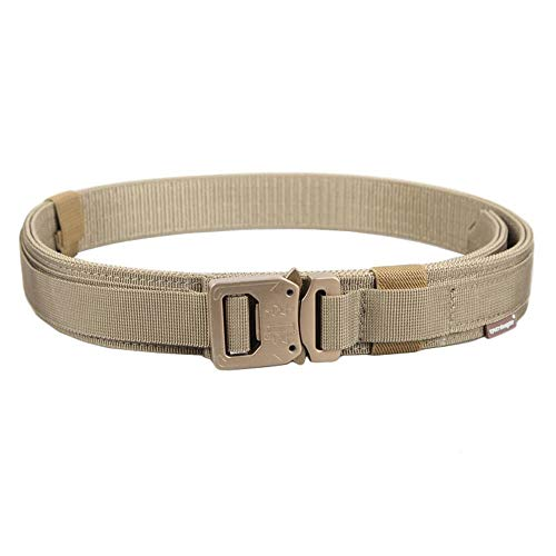 EMERSONGEAR Tactical Nylon Belt with Quick Release Metal Buckle,Stiffened 2-Ply Nylon Gun Belt for Concealed Carry Holsters Pouches Khaki