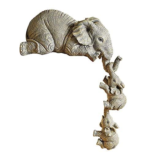 Estatuillas de Elefantes, Elefantes Escultura de la Estatua Coleccionable Conjunto de 3 Resina Elephant Ornament para la Oficina de la Oficina del hogar Decoración del Estante