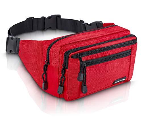 VAN BEEKEN Bauchtasche Gürteltasche für Damen und Herren mit Gurtverlängerung I Wasserabweisende und reißfeste Hüfttasche I Hip Bag, Rot