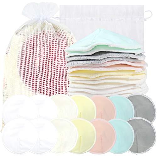 Bamboo Nursing Pads (14 Pack) + Laundry Bag & Travel Storage Bag, 4.7 inch Option - Washable & Reusable Nursing Pads (Peaceful, Large, Contoured Shape)