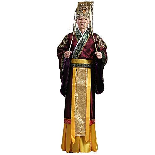 EEKUY Antiguos Emperador Chino Ropa Y La Corona, El Emperador Qin Shihuang Hanwu Corte Emperador De Vestir Chino Tang Traje De Hanfu para Juegos De rol Y Su Vida Diaria,A