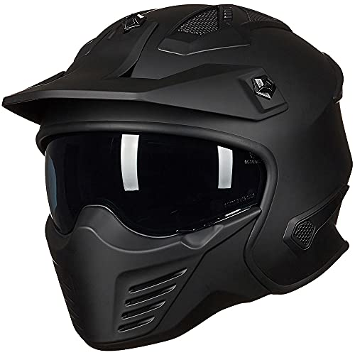 ILM Open Face Motorcycle 3/4 Half ATV Helmet With Communication System for Moped ATV Cruiser Scooter (Matte Black, L)