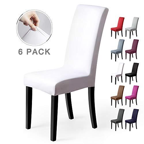 Fundas para sillas Pack de 6 Fundas sillas Comedor Fundas elásticas, Cubiertas para sillas,bielástico Extraíble Funda, Muy fácil de Limpiar, Duradera (Paquete de 6, Blanco)
