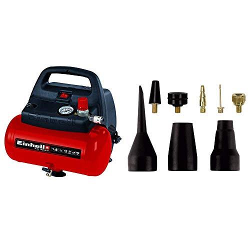 Einhell TH-AC 190/6 OF - Compresor de aire, 8 bar, depósito 6 l, aspiración 185 l/min, 1100 W, 230 V, color rojo y negro & 4139695 - Pack de 8 accesorios para aire comprimido, color negro