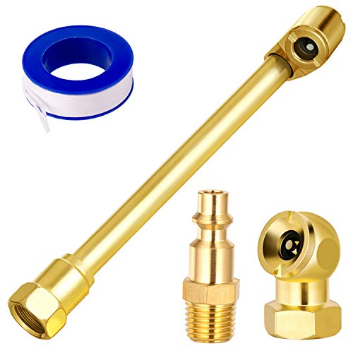 2 Way Connection Heavy Duty Air Chuck Set-1/4 Inch Female NPT Closed Ball tire Chuck, Dual Head Air Chuck and Standard Male Quick Plug, Tire Air Fill Kit for Tire Inflator Gauge and Air Compressor