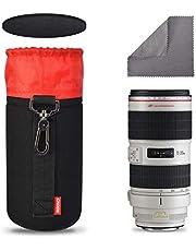 Techlilfe Caden Neoprene Lens Pouch Bag for DSLR Camera Lens (Canon, Nikon, Pentax, Sony, Olympus, Fujifilm, Panasonic, and More) - XL Size