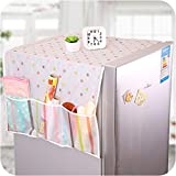 SVK Dream Home Transparent Printing Waterproof Cloth dust Cover Household Refrigerator Cover Towel Hanging Storage Bag Flamingo 130 X 55cm in White Color (Color May Vary)