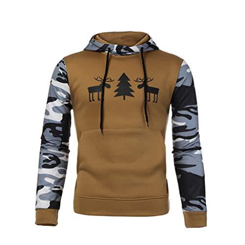 Sweat Homme Sweats à Capuche Pull Camouflage à Manches Longues pour Hommes Mens Camouflage Pull zippé à Manches Longues Sweat à Capuche Tops Blouse Roiper