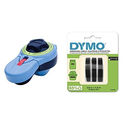 Dymo Junior Estampadora para Uso doméstico (Versión Española) + 3D Label Tapes - Cintas para Impresoras de Etiquetas (Ampolla, 9 Mm, 3 M)