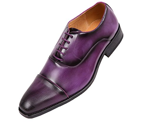 Amali Conrad, Mens Dress Shoes - Oxford Shoes for Men - Formal Shoes for Men - Smooth, Cap Toe, Lace Up, Oxford Shoes - Classic Shoes for Men, Color Purple Size 10 !!! Runs Small GO 1/2 Size UP !!!