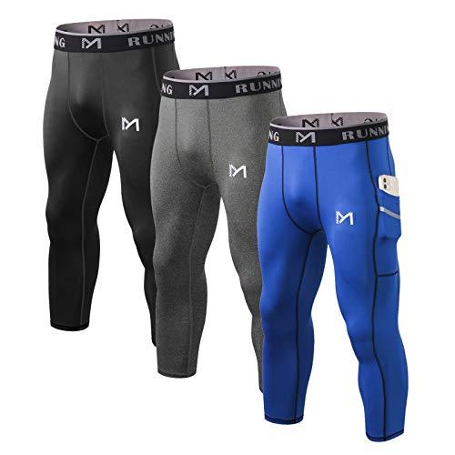 MEETYOO Leggings Hombre, Mallas Running Pantalón de Compresión Pantalon Deporte para Gym Fitness Jogging