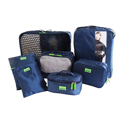 ROGF Travel Storage Bag Shoe Cosmetic Clothing Bag Packing Cube System Durable 7 Piece Weekender Luggage Organizer Set For travel (Color : Navy)