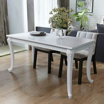 Dining Table Glossy White 116 x 66 x 76 cm Rectangular Dining Table for Kitchen Living Room
