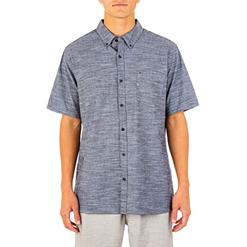 Hurley Men's One and Only Textured Short Sleeve Button Up, black, L