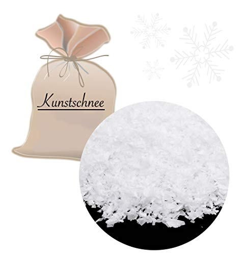 L+H Großer Beutel Kunstschnee 250 Gramm | feiner Dekoschnee in Premium QUALITÄT zum Basteln | Für Schneekugeln, Deko an Weihnachten für Weihnachtsbaum usw. | Bastelschnee Streuschnee