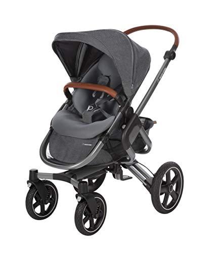 Maxi-Cosi Nova 4-Rad Kombi-Kinderwagen, automatisch klappbar, nutzbar ab der Geburt mit Babyschale oder Babywanne Oria bis circa 3,5 Jahre, komfortabel für Stadt und Land, Sparkling grey