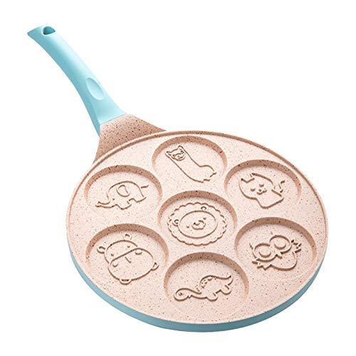 perfk Cuisine Pancake Pan Moule Crêpière Non-bâton Crêpe Cuisson Cookies Pan 10 Pouces Plaque Grill Pan 7-Moule Crêpes avec Poignée de Silicium - Bleu