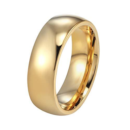 PROSTEEL Bague Homme Personnalisé Alliance Anneau Plaqué Or Jaune Personnalisable Accessoire de Fiançaille Simple Couple Wedding Ring pour Amoureux Bijoux Fashion (Doré/6MM)