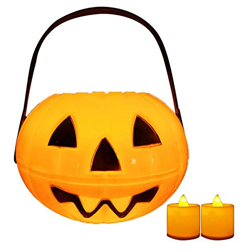 Halloween Pumpkin Bucket, With 2 Flameless Led Candles, Portable Children'S Lantern Decoration, April Fool'S Day Friends Party Decoration, Haunted House, Halloween Decoration