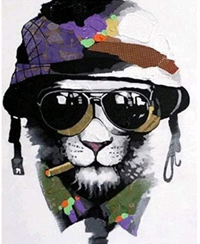Hund Sonnenbrille Military Cap Malen nach Zahlen Erwachsene für Kinder Diy Handgemalt ölgemälde Home Haus Deko Geschenk auf Heimdekoration Vorgedruckt Leinwand Anfänger Acrylfarben ohne Rahmen