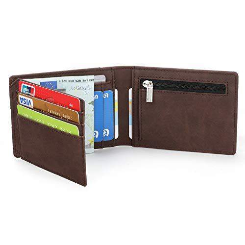 Vemingo Cartera para Hombre con Bolsillo de Moneda/Cartera Piel Hombre con Clip y RFID Bloqueo para Varias Tarjetas personales (O- Marrón)