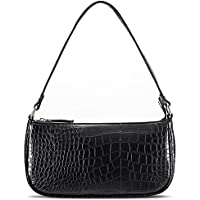 Retro Classic Clutch Shoulder Bag for Women Vegan Leather Croc Small Purse with Zipper Closure (Black)