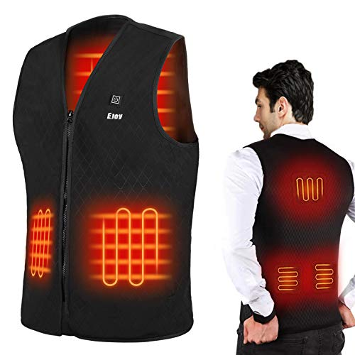 EJOY Heated Vest for Men Electric Warm Clothing Heat Jacket Washable Lightweight Heating Clothes for Winter Outdoor Activity Hiking Hunting Fishing Black