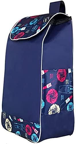 Bolsa de Carrito de Compras Azul Bolsa de Repuesto para Carrito de Compras con Bolsillos Laterales Bolsa de Repuesto para Carrito, Oxford Cloth Bag-31L