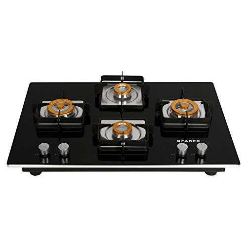 Faber HTG 754 CRS BR CI 4 Burners Hob Cooktop (Black)