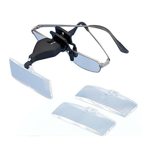 KUNSE MG19157-2 1.5 x 2.5 x 3.5 x LED Light Eye bril Low Vision Clip Vergrootglas Loupe met LED-licht