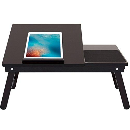 sknonr Table Pliante d'ordinateur, Table de lit réglable de Bureau d'ordinateur Portable en Bois Solide avec Le tiroir 54 * 35 * 23cm