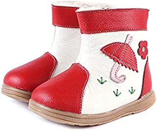 SandQ baby Red & White Fur Lined Leather Boots