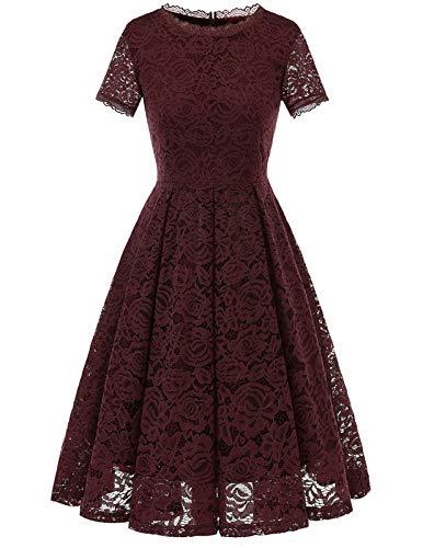 Dresstells DRESSTELLS Damen Midi Elegant Hochzeit Spitzenkleid Kurzarm Rockabilly Kleid Cocktail Abendkleider Burgundy L