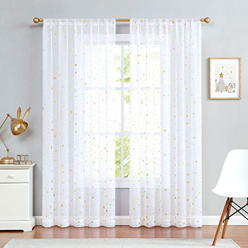jinchan Sheer Foil Star Print Curtains Rod Pocket Curtain Panels 84 Inches Gold White for Girls Bedroom Starry Night Cute Twinkle Star Drapes for Living Room Set 2 Panels