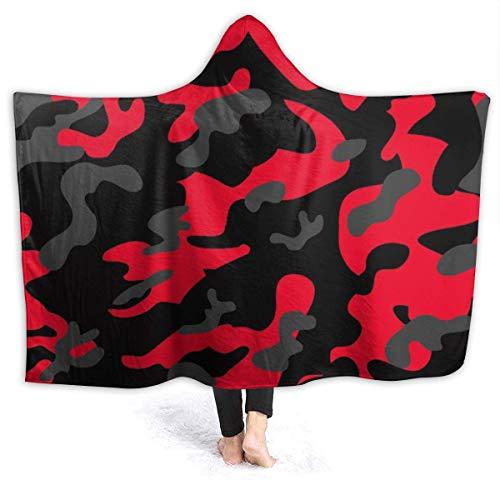AEMAPE Red Camouflage Hooded Blanket Bequeme Decken Fleece Throw Blanket für Kinder 60x50in