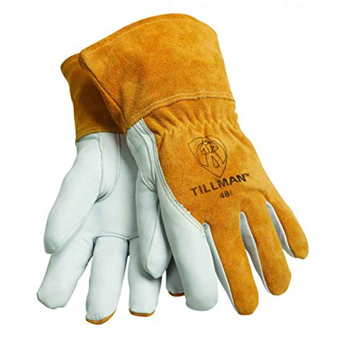 """John Tillman and Co Large Brown Top Grain Goatskin Fleece Lined Standard Grade MIG Welders Gloves with Straight Thumb, 3 12"""" Cuff, Kevlar Stitching and Elastic Back"""