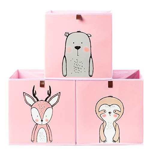 2friends 3 Kinder Aufbewahrungsboxen mit Schlaufe zum Herausziehen, 3er Set mit 3 Motiven, 33x33x33 cm, ideal für Kallax-Regale, stabil und abwaschbar, rosa