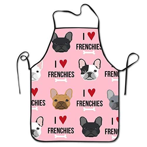 Not Applicable novità Vestito da Grembiule con Bretelle per Barbecue Artigianale da Cucina retrò Impermeabile per Donna Uomo Amo i Bulldog francesi