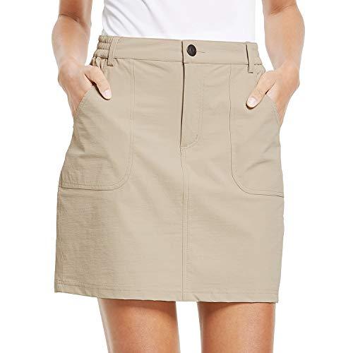 BALEAF Women's Outdoor Skort UPF 50 Active Athletic Skort Casual Skort Skirt with Zip Pockets Hiking Golf Khaki M
