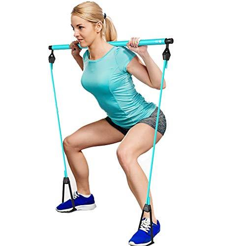 Gfbyq - Barra de pilates portátil, kit de barra de yoga y pilates con banda de resistencia, barra de tonificación ajustable con lazo para el pie, para entrenamiento corporal completo, gimnasio, levantamiento de pesas