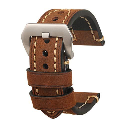 omyzam Herren Uhrenarmband 20mm,Leder Uhrenband,Ersatz-Watch Armband mit Dornschließe aus Edelstahl,Männer und Frauen Uhren Zubehör Geeignet für Eine Vielzahl Traditioneller Sportuhren Braun